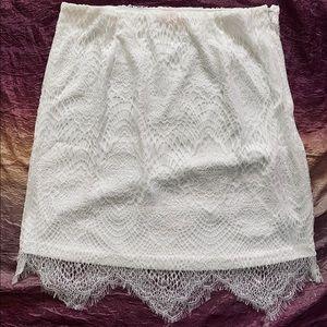 Banjul White Boutique Skirt Lace Overlay